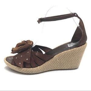 NaNa Leather Wedge Flower Accent Peep Toe Sandals